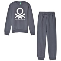 United Colors of Benetton Jersey Logo Sweater & Trouser Set Dark Grey Dark grey