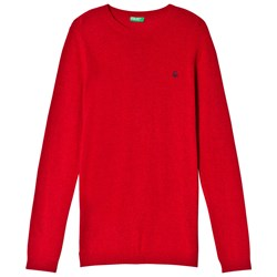 United Colors of Benetton Crew Neck Knit Jumper With Logo Red