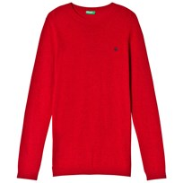 United Colors of Benetton Crew Neck Knit Jumper With Logo Red Red