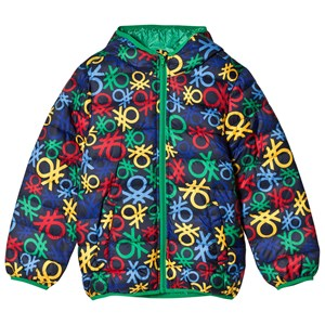Image of United Colors of Benetton All Over Logo Print Hooded Puffa Coat Navy Multi S (6-7 år) (2839663811)