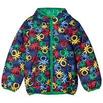 United Colors of Benetton All Over Logo Print Hooded Puffa Coat Navy Multi NAVY MULTI