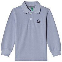 United Colors of Benetton L/S Pique Logo Polo T-Shirt Light Blue Light Blue
