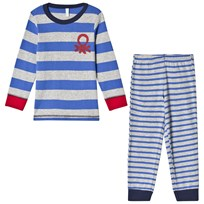 United Colors of Benetton L/S Stripe Logo Sweater Pyjama Set Blue Blue