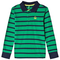United Colors of Benetton Striped Polo Green