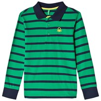 United Colors of Benetton Stripe L/S Polo T-Shirt Green Green