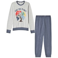 United Colors of Benetton L/S Save The Planet Sweater Pyjama Set Grey Black