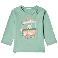 United Colors of Benetton Long Sleeve Tram Print Tee Light Green Light Green