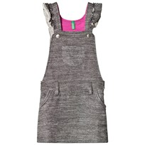 United Colors of Benetton Jersey Dungaree Dress With Frill Straps Grey Black