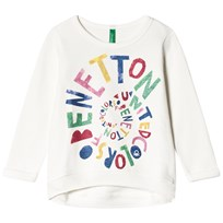 United Colors of Benetton Logo Jersey Sweater White White