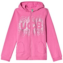United Colors of Benetton L/S Zip Fleece Cotton Sparkle Logo Hoodie Pink Pink