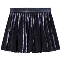 United Colors of Benetton Pleated Skirt With Metallic Trims Navy Marinblå