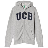 United Colors of Benetton Jersey Logo Zip Hoodie Grey Black