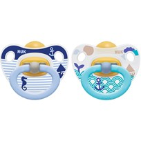 NUK Napp, Happy Kids, Strl 1, Latex, 2-pack, Blå/turkos Blue