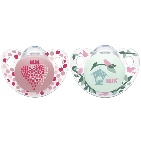 NUK 2-Pack Trendline Silicone Pacifiers in Pink/Green 18M+ Multi