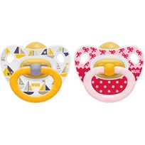 NUK Napp, Happy Kids, Strl 1, Latex, 2-pack, Röd/gul Multi