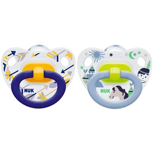 Image of NUK 2-Pack Happy Days Silicone Pacifier Yellow/Blue Size 3 (3125361261)