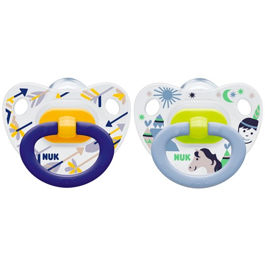NUK 2-Pack Happy Days Silicone Pacifier Yellow/Blue Size 3 Blue
