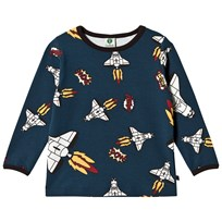 Småfolk Navy Long Sleeve T-Shirt with Rocket Print