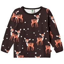 Småfolk Brown Long Sleeve Tee with Deer Print