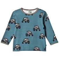Småfolk Blue T-Shirt with Tractor Print 709