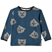 Småfolk Navy Long Sleeve T-Shirt with Cat Print