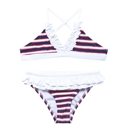 Melissa Odabash Stripe Triangle Bikini in Navy Red and White Flag Stripe