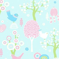 Majvillan Cherry Valley Wallpaper Turquoise Multi