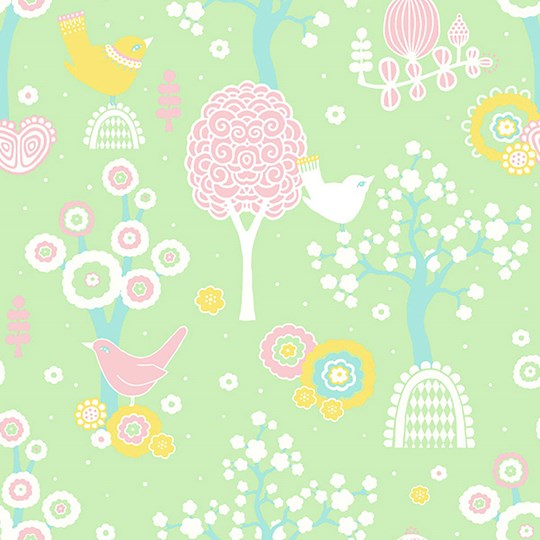 Majvillan Cherry Valley Wallpaper Green Green