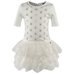 Microbe by Miss Grant Off-white 3/4 Sleeve Jersey Dress With Gold Diamante Star