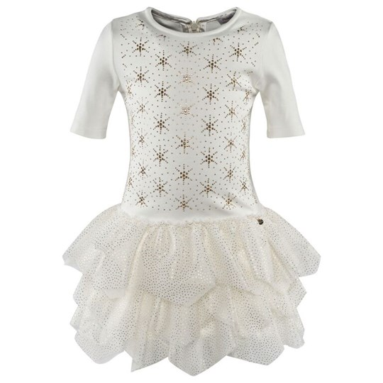 Microbe by Miss Grant Off-white 3/4 Sleeve Jersey Dress With Gold Diamante Star 016