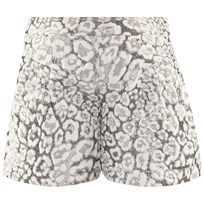 Miss Grant Off White And Silver Lurex Leopard Print Jacquard Shorts 101