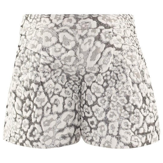 Miss Grant Lurex Leopard Print Shorts Off White/Silver 101
