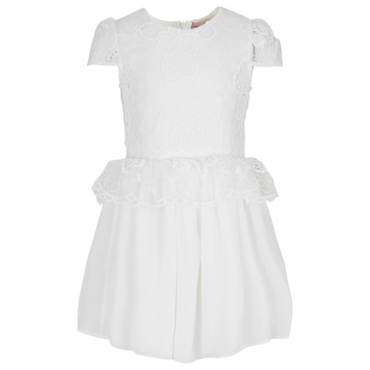 Miss Blumarine Embroidered Lace Dress White Cream