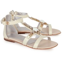 Miss Blumarine Leather Starfish and Gem Sandals Gold