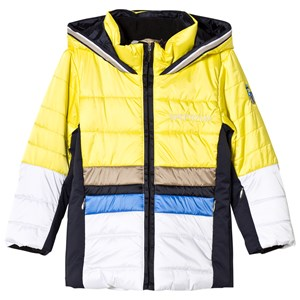 Image of Sportalm Yellow and White Color Block Jacket 104 (4 years) (2841382819)