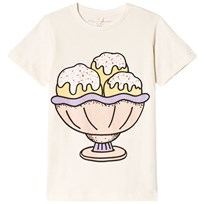 Stella McCartney Kids Arlow Multi Scoop Ice Cream Print T-shirt Cream 9232