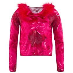 Miss Blumarine Pink Rose Print Cardigan with Detachable Feather Collar