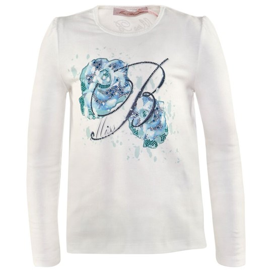 Miss Blumarine Ivory Tee with Blue Rose And B Jewelled Print 92