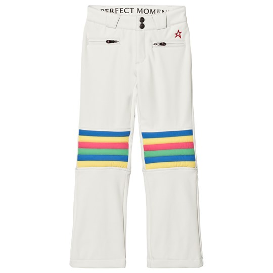 Perfect Moment White and Rainbow knee Arora Flare Ski Pant Snow White Rainbow