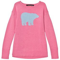 Perfect Moment Peach Pink and Pale Blue Crewneck Bear Print Sweater