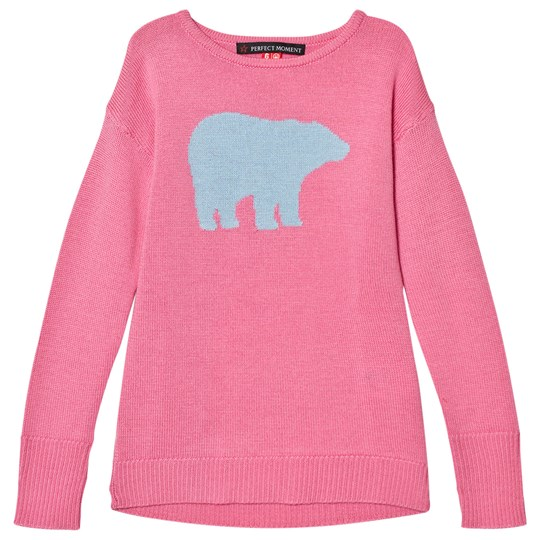 Perfect Moment Peach Pink and Pale Blue Crewneck Bear Print Sweater Peach Pink/Alaska Blue