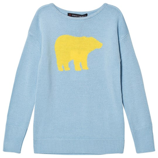 Perfect Moment Pale Blue and Yellow Crewneck Bear Print Sweater Navy