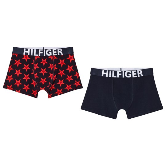 Tommy Hilfiger Pack of 2 Navy and Red Star Print Branded Trunks 637