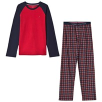Tommy Hilfiger Red Raglan and Check Bottoms Holiday Pajamas Set 637