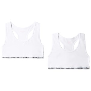 Image of Calvin Klein 2-Pack White Cotton Bralettes 6-7 years (3001922087)