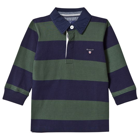 GANT Green and Navy Bar Stripe Rugby Shirt 318