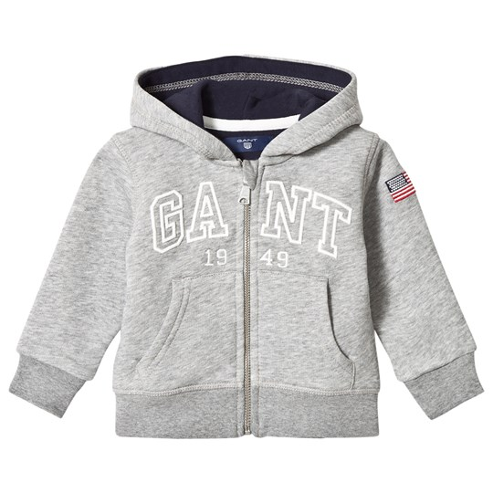 GANT Grey Embroidered Full Zip Hoodie 93