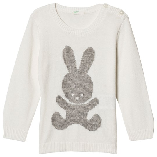 United Colors of Benetton L/S Knit Sweater With Bunny Detail White White