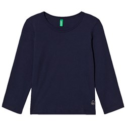 United Colors of Benetton Classic L/S Cotton T-Shirt With Sparkle Logo Detail Navy