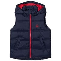 United Colors of Benetton Padded Gilet with Hood Navy Marinblå